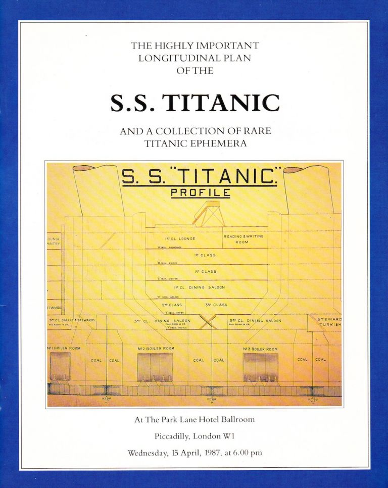 THE HIGHLY IMPORTANT LONGITUDINAL PLAN OF THE S. S. TITANIC AND A COLLECTION OF RARE TITANIC EPHEMERA. Onslow Auctions Ltd.