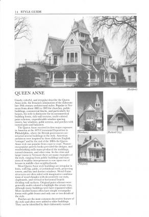 THE HISTORIC ARCHITECTURE OF VERMONT: GUIDE TO VERMONT ARCHITECTURE